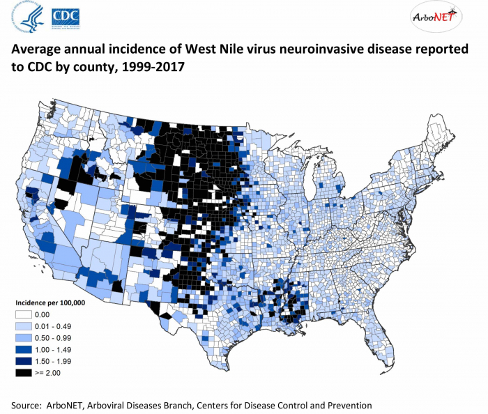West Nile Virus incidence map